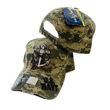Licensed Camo Anchor Hat with Shadow [US Navy on Bill]